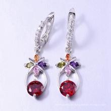 Pendiente con accesorios de aretes de piedra colorida joyería de Dubai