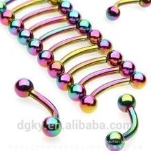 KaiYu novo titânio-banhado-curvado-barbells-com-arco-íris-bolas