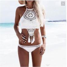 Speedo Tong hecho a mano de color sólido bikini caliente traje de baño de verano