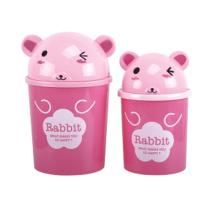 Pink Rabbit Design Plastic Flip-on Poubelle (A11-5806)