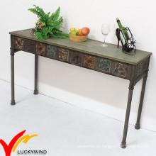 Luckywind Shabby Chic Vintage mesa de metal industrial de la mesa