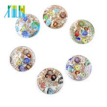 MC0023 Wholesale Handmade Flat Round Art Gold Powder lampwork glass beads 12pcs/box