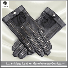 Frauen schwarze Leder Mode Studs Fahren Leder Handschuhe