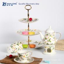 Té de la tarde de la antigüedad del estilo de la tolerancia fijó el sistema de té de China de hueso del patrón de la fresa