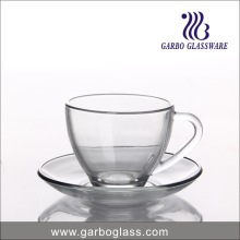 230ml Simple Glass Coffee Cup and Saucer