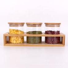 kitchen 10oz 300ml borosilicate glass bean storage jar with bamboo lids