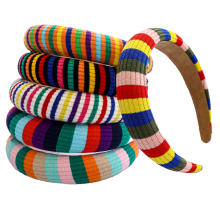 Stirnband venda Wholesale Korean Autumn Rainbow Sponge Stripe Hairband Fashion  Winter Headband for Women Girl Hair Accessories