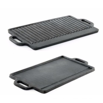 Reversible Double Burner Cast Iron Grill Griddle 20 Inch Black