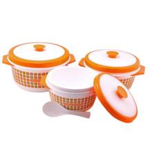 Recipiente plástico do aquecedor de alimento 3PC