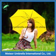 Красочные ткани прямой подарок акции Деревянный вал Auto Open Golf Umbrella