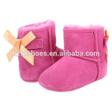 Симпатичные детские сапоги для девочек Зимняя обувь с бантом