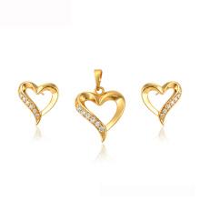 64785 Xuping con forma de corazón para regalo del día de la madre 24 k bañado en oro juego de joyas de Dubai