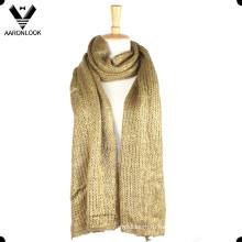 Женская фольга печать акрил вязаный длинный блеск шарф
