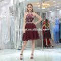 2017 high end dark red lady's prom dress short halter sexy backless beaded brazilian evening dress
