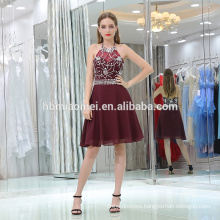 2017 high end dark red lady's prom dress short halter sexy backless beaded brazilian evening dress