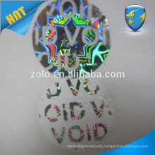 Custom novelty private label supply cheap sticker printing with custom hologram effect