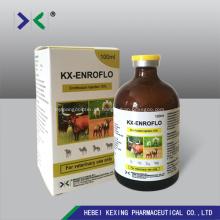 Inyección de enrofloxacina en animales 5%