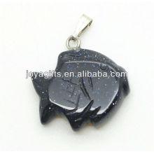 Forme de poisson Pendentif en pierre or bleue