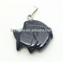 Fish Shape blue Gold Stone Pendant