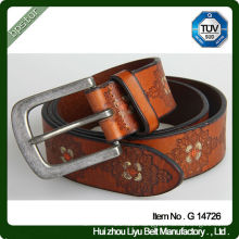 Western Style Real Leather Embossed Belt With Nickel Buckle