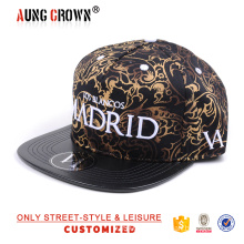 Black leather brim custom fabric 5 panel cap hat