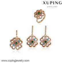 64176 xuping 18 karat gold schmuck großhandel mode luxus multicolor zirkon stein vergoldet schmuck sets