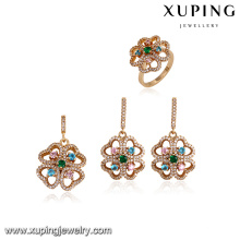 64176 xuping 18k gold jewelry wholesale fashion luxury multicolor zircon stone gold plated jewelry sets