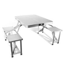 Оптовая алюминиевый открытый стол для пикника и стул с зонтиком отверстие
