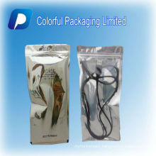 Golden printed/Resealable aluminum foil ziplock bag/with see through window aluminum foil ziplock bag for electronic product