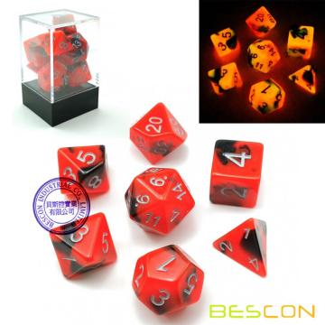 Bescon Two-Tone Glow-in-the-Dark polyedrischen Würfel Set HOT ROCKS, leuchtende RPG Würfel Set d4 d6 d8 d10 d12 d20 d% Brick Box Pack