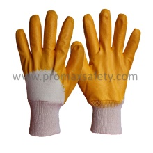 Interlock Coton Liner Yellow Nitrile Coated Glove with Open Back