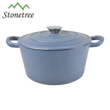 Jabonera azul redonda de hierro fundido / cazuela / ollas / cocottes