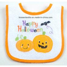 Babero de encargo del bebé del algodón blanco del velcro del Applique bordado de Halloween de la calabaza de la historieta