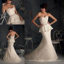 WD2840 Champanhe strapless vestidos de noiva train vestidos faixa sereia varredura faixa de trem duas peças vestido de noiva de renda