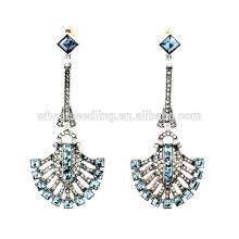Exquisito en forma de abanico de cristal árabe verde diamante aros aretes muestras