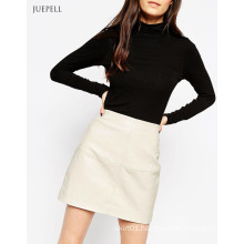Textured PU Office Leather Mini Lady Skirt