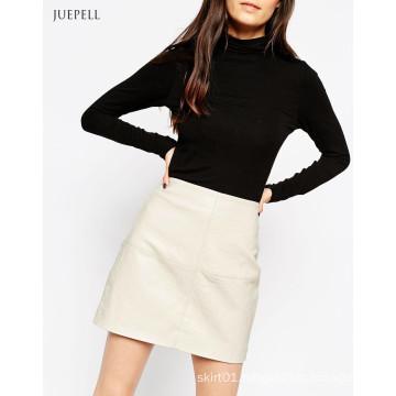 Textured PU Office Leather Mini Lady Skirt