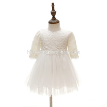 OEM A line pleats ruching chiffon half sleeve lace embroidered princess tutu dress infant toddlers baby birthday dress with hat