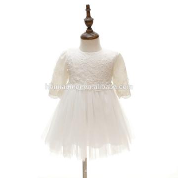 Soem eine Linie Falten Rüsche Chiffon halbe Hülse Spitze bestickt Prinzessin Tutu Kleid Säugling Kleinkinder Baby Geburtstag Kleid mit Hut