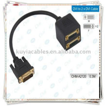Novo DVI-I 24 + 5 pinos macho para 2 DVI Female Splitter Adapter