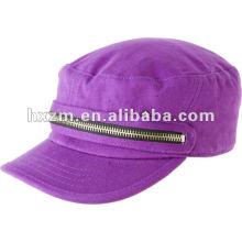 Bonnet militaire violet à la mode et chapeau plat avec fermeture à glissière