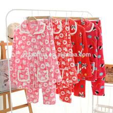 Flanela feminino do velo do pijama macio quente