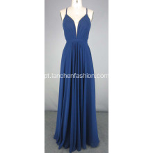 Long Navy Chiffon Dress Prom Vestido De Noite