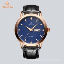Fashion Men′s Stainless Steel Analog Quartz Leather Wrist Watch 72652