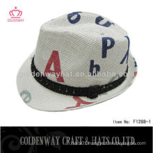 Paper fashion Fedora Hat cheap promotion natural straw factory power supply