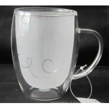 Copo de vidro de parede dupla com ouvido (COBERTURA INTERNA FROSTING),