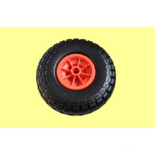 PU Wheels with Plastic Rim 410/350-4 for Trolley, Wheelbarrow, Popular in America and Europe