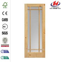 30 in. X 84 in. Chapa de arce Prairie 9 Lite Placa de puerta de granero interior de madera maciza