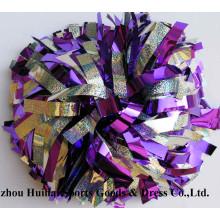 Cheerleading POM Poms: Púrpura de plata de la mezcla de Holo