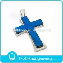 Preço barato por atacado de revestimento de vácuo brilhante azul do Nilo colar de corrente de ouro pingente de cruz de jesus
